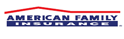 American Family insurance logo with the american family in blue text and the insurance in white with the a red line above it